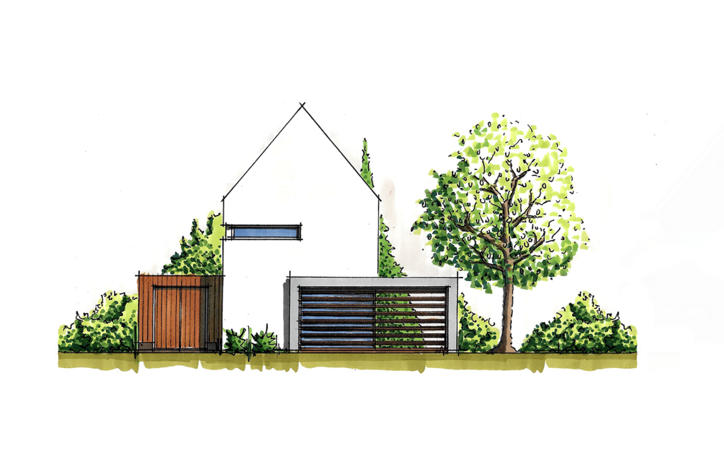 Moderne vrijstaande woning voorgevel