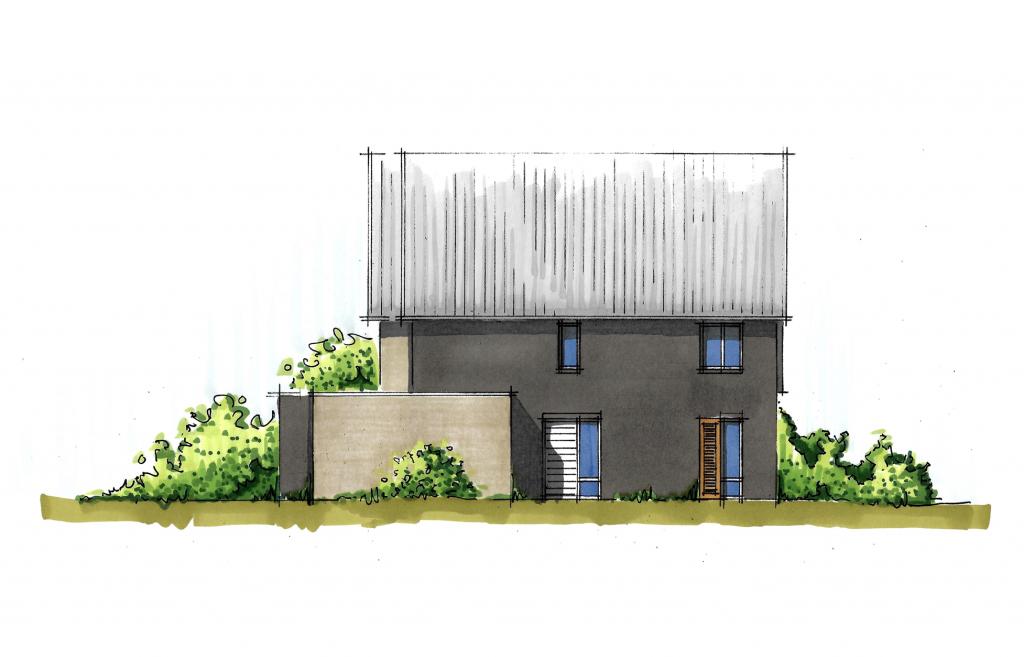 Moderne twee-onder-een-kap woningzijgevel