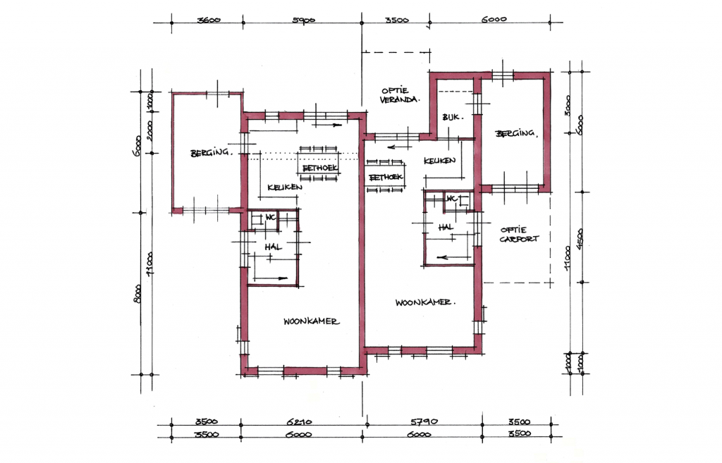 Moderne twee-onder-een-kap woning plattegrond