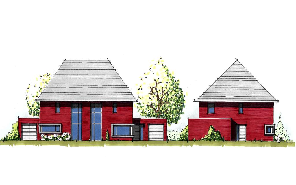 Moderne twee-onder-een-kap woning gevels