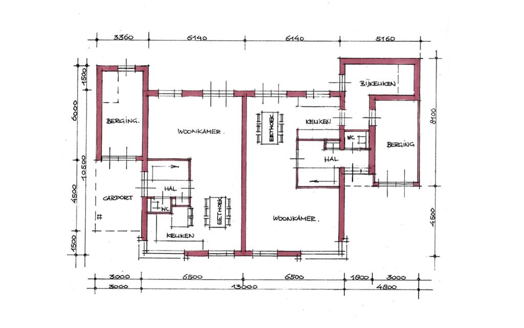 Jaren 30 twee-onder-een-kap woning plattegrond
