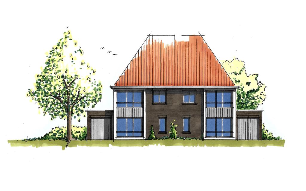 Moderne twee-onder-een-kap woning voorgevel