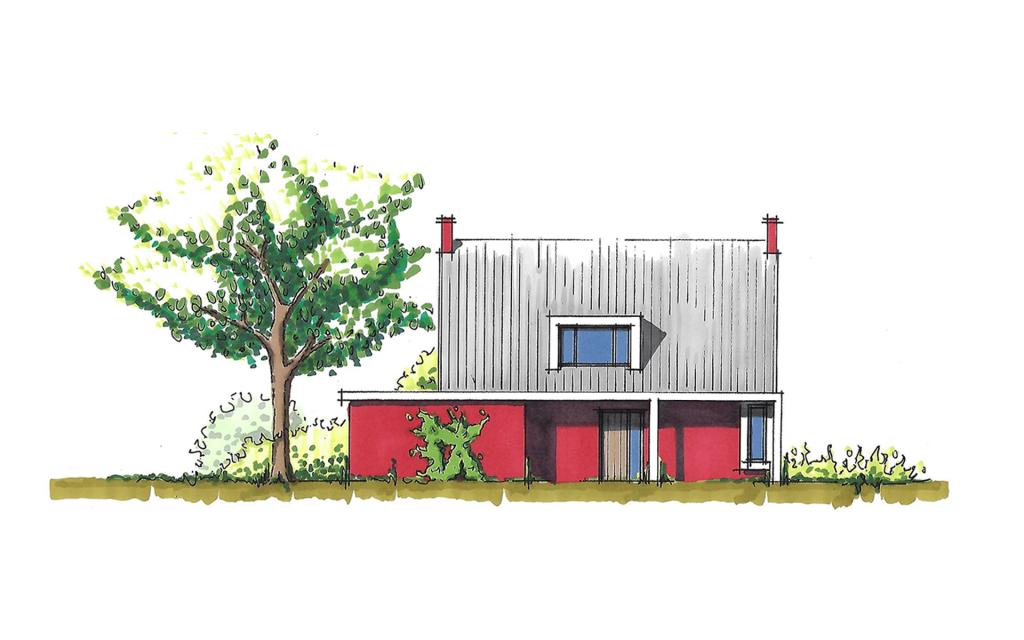 Moderne twee-onder-een-kap woning zijgevel