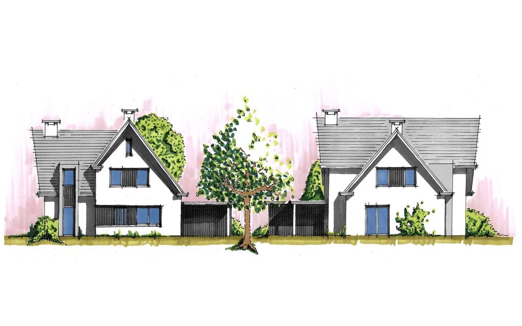 Moderne vrijstaande woning gevels