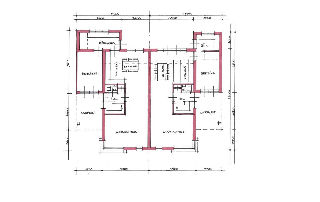Traditionele twee-onder-een-kap woning plattegrond