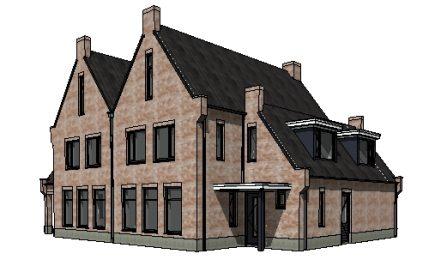 Traditionele twee-onder-een-kap woning 3D