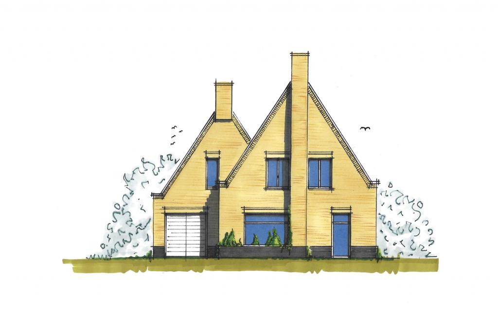 Traditionele vrijstaande woning voorgevel