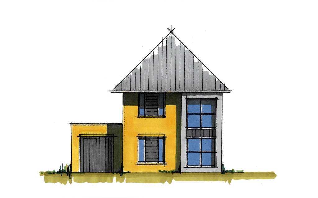 modern vrijstaande woning voorgevel